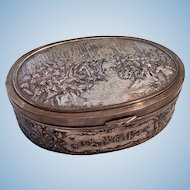 "Large 6-3/4"" Antique Silver Plate Jewelry Casket Dresser Box Red Silk Lining"