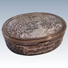 "Large 6-3/4"" Antique Silverplate Jewelry Casket Dresser Box Red Silk Lining"
