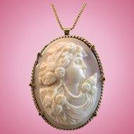 14K Gold Goddess Flora Pink Shell Cameo Brooch Pendant 20.9 grams