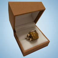 Classic 10K Gold Tiger Cameo Double Centurion Soldier Ring
