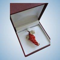 Vintage Red Coral Grapes Brooch 800 Silver Vermeil