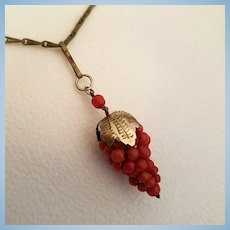 "Radiant Red Coral Bead Grapes Pendant 800 Silver Vermeil & 26"" Paper Clip Link Chain"
