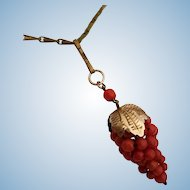 """Radiant Red Coral Bead Grapes Pendant 800 Silver Vermeil & 26"""" Paper Clip Link Chain"""