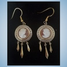Victorian Revival 12K GF Shell Cameo Earrings Pierced Wires  Torpedo Drops