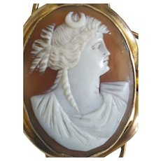 "Victorian 2"" Goddess Diana Shell Cameo Pinchbeck Brooch"