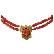 Antique 15ct Gold Carved Coral Rose Pendant Necklace