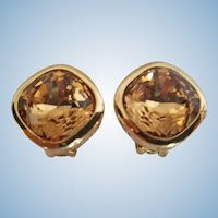 Christian Dior Faceted Topaz Crystal Cabochon Clip Earrings