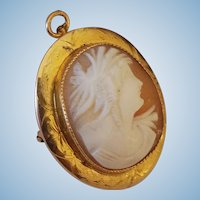 10K Yellow Gold Goddess Demeter Ceres Shell Cameo Brooch Pendant