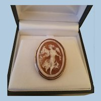 Full Body Terpsichore Shell Cameo Brooch Pendant 800 Silver