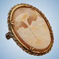 Bay of Naples Mt Vesuvius Shell Cameo Brooch Pendant