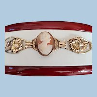 "1940's Gold Fill Shell Cameo Panel Bracelet  7"""