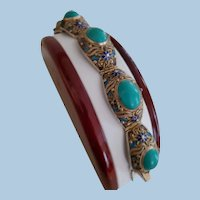 Chinese Export Turquoise Cabochon Gilt Silver Filigree Bracelet & Original Box