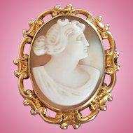 Mid Century 10K Gold Goddess Diana Sardonyx Shell Cameo Brooch Pendant 5 grams
