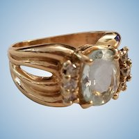 Chic 14K Yellow Gold 3ct Oval Aquamarine & .36ct Diamond Band Ring