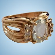 Chic 14K Yellow Gold 3ct Oval Aquamarine & .36ct Diamond Band Ring