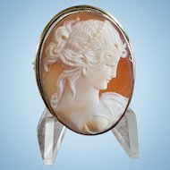 Vintage 800 Silver Cleopatra Queen of the Nile Shell Cameo Brooch Pendant