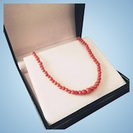 "Victorian 16"" Coral 3.5-5.2mm Bead Necklace Christening First Communion Child to Adult"