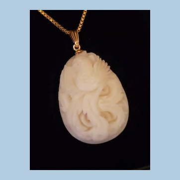 Mid Century 14K Gold Carved White Coral Teardrop Pendant w/ GF Chain