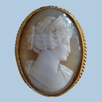 "So Beautiful 2"" Goddess Hera Shell Cameo Brooch Pendant"