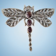 Large Sterling 925 Silver Dragonfly Amethyst Paste & Marcasite Brooch