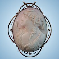 """2-1/4"""" 9ct Gold Pink Conch Shell Cameo Goddess Diana Brooch Pendant 22.6 grams"""
