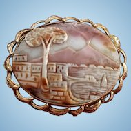 14K Yellow Gold Scenic Bay of Naples Mount Vesuvius Shell Cameo Brooch