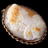 Edwardian 14K Gold Shell Cameo Goddess Brooch Pendant