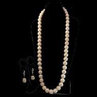 Amazing Opera Length 18K Angel Skin Coral 15mm Bead Necklace & 18K Earring Suite - 273.8 grams