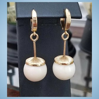 Grand 18K Gold White Coral 15mm Bead Drop Earrings - 15.3 grams