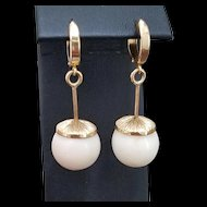 Grand 18K Gold White Coral Bead Drop Earrings - 15.3 grams