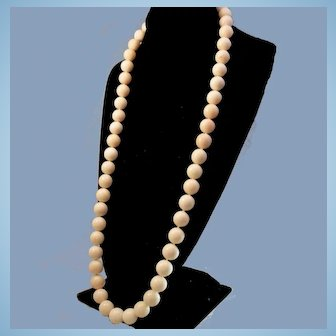 """Amazing 34"""" 18K Angel Skin Coral 15mm Bead Necklace - 258.4 grams"""