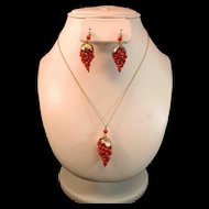Vintage Red Coral Bead Grapes Pendant & Earrings 835 Silver Gold Gilt Suite