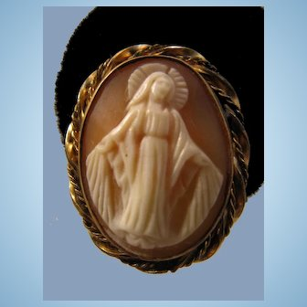 Miraculous Medal Our Lady of Graces Shell Cameo Earrings 12K Gold Fill