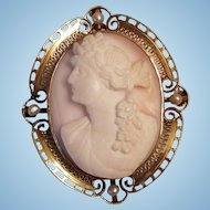 Edwardian 10K Gold Pink Shell & Seed Pearl Cameo Brooch Pendant