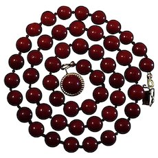 Magnificent 14K Gold Corsican Dark Oxblood Red Coral 8mm Bead Necklace
