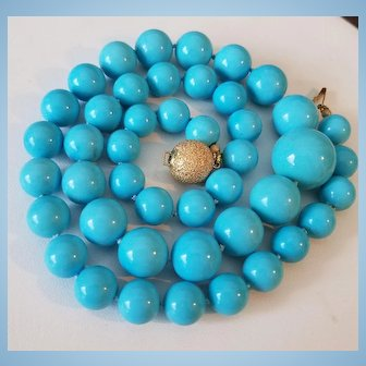 Symphony in Blue 14K Gold Genuine Sleeping Beauty Turquoise Bead Necklace