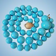 Gorgeous 14K Gold Genuine Sleeping Beauty Turquoise 9.7-17.2mm Bead Necklace