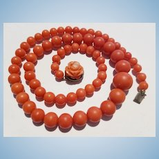 "Beautiful 19"" Momo Red Coral 5.7-11.9mm Bead Necklace  Carved Rose Clasp Sterling Vermeil"