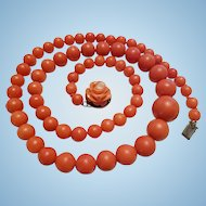 """Beautiful 19"""" Momo Red Coral 5.7-11.9mm Bead Necklace  Carved Rose Clasp Sterling Vermeil"""
