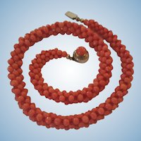 Vintage Woven Red Coral Bead Rope Necklace Cabochon Vermeil Clasp