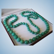 "Extraordinary 43"" GIA Certified Natural Turquoise 8.9-15.5mm Bead Necklace 194.1 grams"