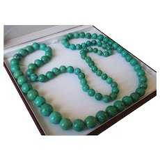 """Extraordinary 43"""" GIA Certified Natural Turquoise 8.9-15.5mm Bead Necklace 194.1 grams"""