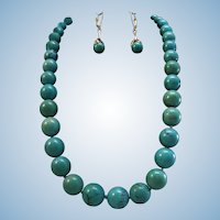 GIA Certified 14K Yellow Gold Natural Turquoise 11.5-15.4mm Bead Necklace & Earrings
