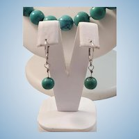 18K White Gold Natural Turquoise Bead Necklace & 14K Drop Earring Suite