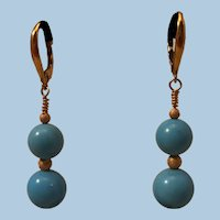 Fabulous 18K Gold Natural Sleeping Beauty Turquoise 9.6-11.1mm Bead Drop Earrings