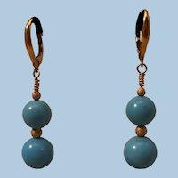 """Fabulous 2"""" 18K Gold Natural Sleeping Beauty Drop Earrings Pierced Wires 8 grams"""