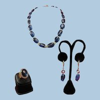 18K Gold Blue Kyanite Bead Necklace Earring Suite & Matching 18K Cabochon Ring