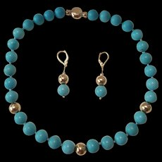 So Beautiful 14K Gold Persian Turquoise Bead Necklace 18K Earring Suite 70.8 grams