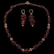 Elegant 18K Garnet & Gold Bead Link Necklace & Earrings Suite