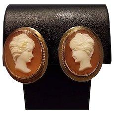14K Gold Goddess Hera Shell Cameo Earrings Non Pierced Screwbacks